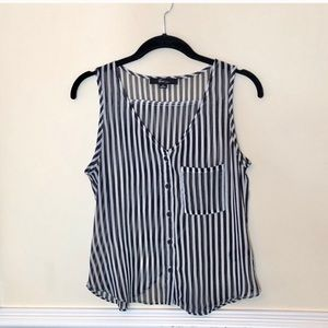 NWOT Forever 21 Black and White Stripe Tank Top
